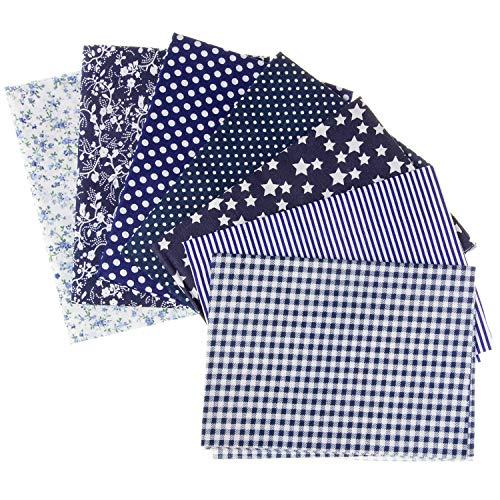 Stoffpaket : 7 Stoffe aus Baumwolle, Baumwollstoffe, Fat Quarters in blau fürs Nähen, Quilting u. Patchwork; Größe: je 50 x 50 cm; Muster: Punkte, Karos, Sterne und Blumen