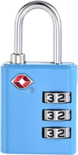 uxcell TSA Approved Luggage Lock 3 Digit Combination Travel Padlock Zinc Alloy Blue 64x32x13mm