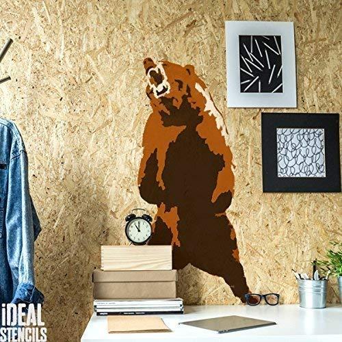 Grizzly Bär, kanadische Bär, Schablone Heim Wand Dekorieren & Basteln Schablone gemalt auf Wände und Möbel 190 Mylar wiederverwendbar - halb geschliffen Durchsichtig Schablone, S/wxh/14x25cm