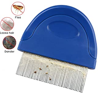 Cat Flea Comb, Pet Flea and Tick Prevention for Dogs, Tear Stain Remover, Stainless Steel Teeth with Plastic Handle for Removing Flea Egg, Mites, Ticks Dandruff Flakes, Crust, Mucus, and Stains
