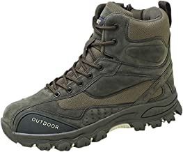 Solid Color Large Size With Short Tube Anti-Slip Retro Classic Pu Leather Boots Men's High-Rise Outdoor Hiking Explosions Tactical Mountain Off-Road Motorcycle Desert Daily Shoes