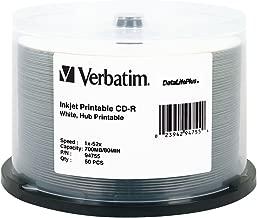 Verbatim CD-R 700MB 52X DataLifePlus White Inkjet Printable, Hub Printable - 50pk Spindle - 94755
