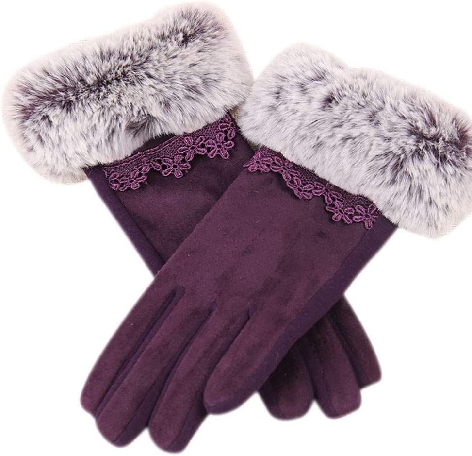 Winter 2019 Women Gloves Fashion Elegant Warmer Cashmere Full Finger Mittens Wrist Guantes Gift Touch Screen Lacemar 14 - (Color: A)