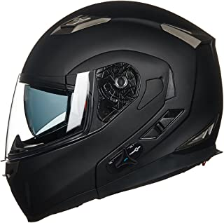 ILM Bluetooth Integrated Modular Flip up Full Face Motorcycle Helmet Sun Shield Mp3 Intercom (L, MATTE BLACK)