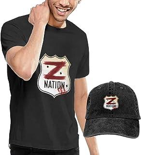 Baostic Camisetas y Tops Hombre Polos y Camisas, Giacomo Badali Mens Z Nation Vs TWD Logo T-Shirts and Caps, Black Fashion Sport Casual T-Shirt + Cowboy Hat Set for Men
