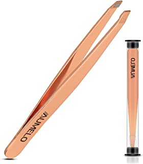 Slant Tweezers - Aumelo Professional Stainless Steel Slant Tip Precision Eyebrow Tweezer for Your Beauty - Rose Gold