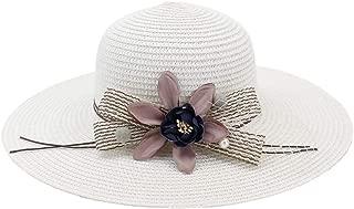 Lady's Sun hat Handmade Straw Hat Ladies Nonchalant Flower Design Women Summer Beach Hat Foldaway Sun hat (Color : White, Size : 56-58CM)