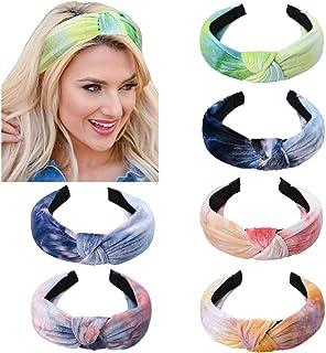 YMHPRIDE hoofdbanden voor dames, 6 stuks tie-dye haarband knoop tulband hoofdband hoofdbanden brede effen hoofdband haarac...