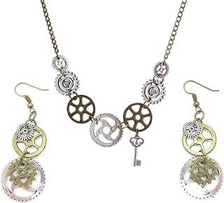 PPX 3 Piezas de época de Oro y de la Plata de Engranajes de Steampunk Collar y Pendientes Cog Conjunto de Joyería