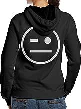 AnnaBGuillaume Women's Thank You Johnny Gargano Wink Smiley Fashion Long Sleeve Hoodie Sweatshirt Hip Hop Pullover Black