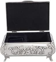 OUNONA - Joyero de metal tallado en rosa rectangular con anillo, organizador de anillos, caja de almacenamiento vintage para el día de la madre, regalo para mujeres y niñas