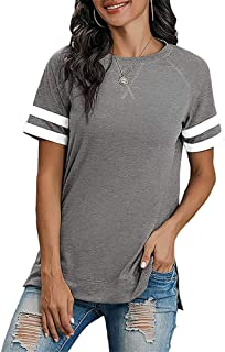 Womens Casual Short Sleeve Loose Spring Pullover Side...