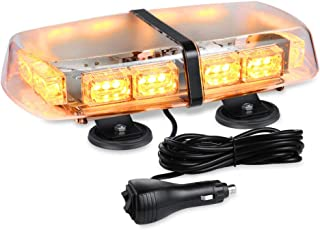 AT-HAIHAN Amber Mini Lightbar Rooftop Emergency Hazard Warning Strobe Light w/4 Strong Magnetic Bases, 36W LED, IP65 Waterproof for Snow Plow, Trucks or Construction Vehicles