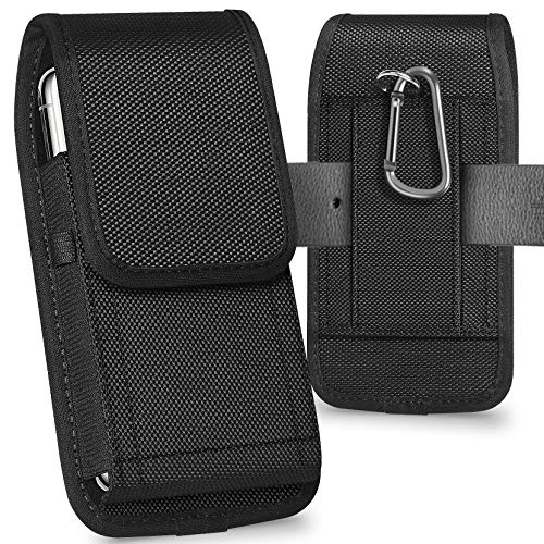 ykooe Cell Phone Pouch Nylon Holster Case with Belt Clip Cover Compatible with iPhone 12/Pro/Mini, 11, Pro, Max, SE2 7 8+ X, Samsung Galaxy S20 FE S10+ S9 A51 A01 Google Pixel 5/4A Moto/LG