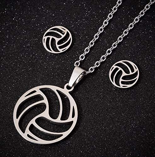 LPZW 2021 Moda Playa Voleibol Colgante Collar Mujeres Hueco Bola Acero Inoxidable círculo joyería (Length : 45cm, Metal Color : 80G)