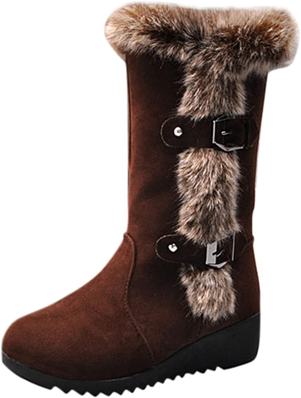Fullwei Winter Boot for Women Limited time sale Round Platform Suede Boo Toe Max 51% OFF