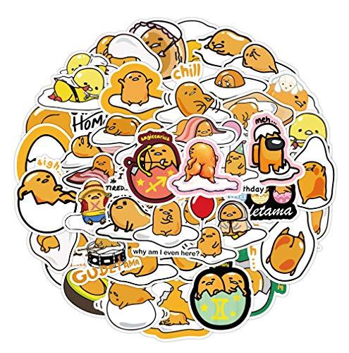 60 Stück Japanische Lazy Egg Aufkleber Sanrio Kawaii Aufkleber Vinyl Wasserdicht Aufkleber für Kinder Jugendliche Erwachsene Laptop Wasserflaschen Skateboard Gitarre Wasserdichtes Vinyl (Gudetama)