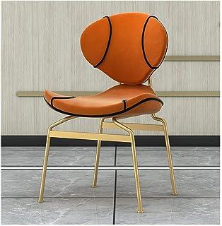 Patas de metal, living room chair, silla de madera maciza, Sillas de cocina, sillón, silla de la sala de estar, sillas de ocio, silla de maquillaje, con respaldo Apoyabrazos, estilo simple-naranja