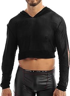 QinCiao Mens Sexy Hoodies Long Sleeve Tees Top T-Shirt Clubwear Undershirt Sweatshirt Pullover