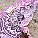 Internet Hippie Ronde Tapisserie Ronde Mandala Plage Serviette Yoga Mat Bohème Nappe (Hot Pink, Mousseline de Soie)