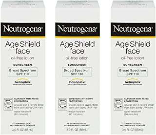 Neutrogena Age Shield Face gQuwm Oil-Free Lotion Sunscreen Broad Spectrum, SPF 110, 3 Ounce (3 Pack)