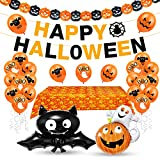 Aurasky Halloween Palloncino Decorazione Set, Halloween Palloncini, Tovaglia di Halloween, Decorazioni Halloween Casa, Festone Happy Halloween, Kit Halloween Party, Halloween Tavola e Giardino