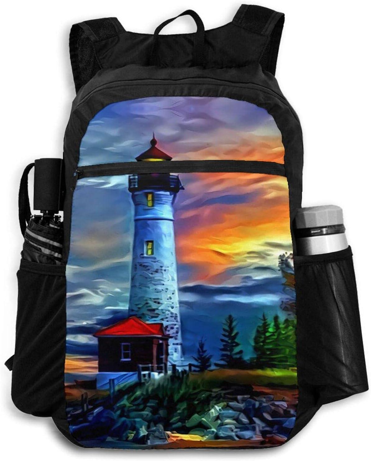 Zolama Lighthouse Sunset Backpacks for D Department store Cute Packable Women Men OFFicial shop