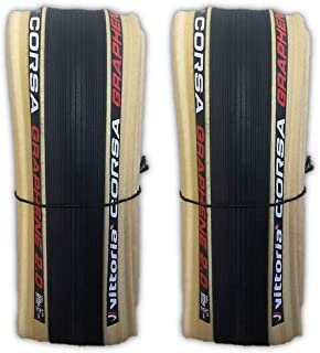 Vittoria Corsa G+ Competition Graphene 2.0 700 x 25 Black Tan 320 TPI Road Bike Clincher Tire - Pair (2 Tires) w/Decal
