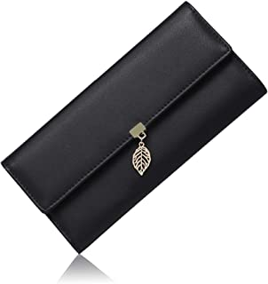 GOIACII Wallets for Women PU Leather Leaf Pendant Card Holder Phone Clutch With Zipper Pocket(Black)