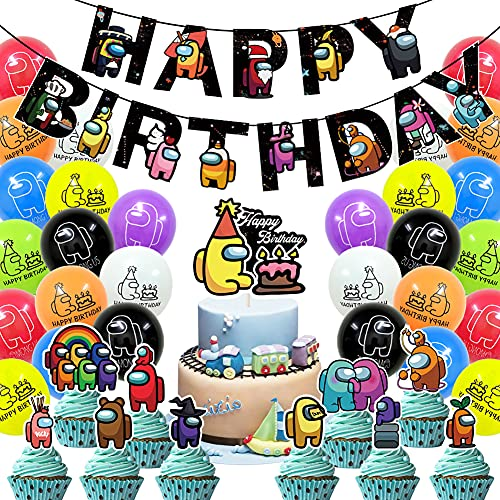 CYSJ 36 PCS Entre Nosotros Decoración de Fiesta de cumpleaños Accesorios de Suministros Bunting Banner Globo Lindo y Encantadora Decoración de Cumpleaños Guirnalda Set para Niños Niños y Niñas