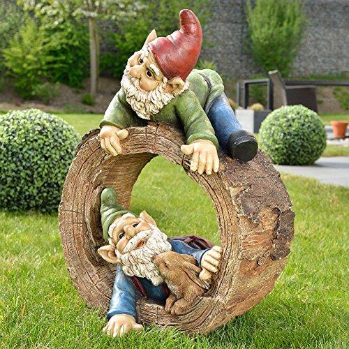 Royal Gardineer Gartenzwerg-Duo mit Häschen im Baumstumpf, handbemalt - 2