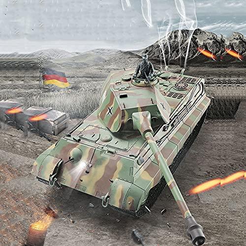 Crayom Tanque RC 1/16 2.4G Tanque de control remoto eléctrico Modelo 6.0 Simulación Juguete de batalla militar, Modelo de automóvil Aleación de orugas Adulto inalámbrico eléctrico 3888 La batalla se p