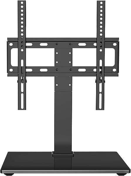 PERLESMITH 万向旋转电视支架台面电视柜 26 55 英寸液晶 LED 电视高度可调电视支架支架,钢化玻璃底座 VESA 400 × 400毫米最多可容纳 88lbs