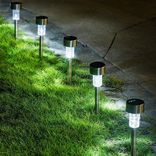 GIGALUMI - Confezione da 16 luci solari per esterni, per giardino, paesaggio/vialetto, per patio, prato, cortile, vialetto, passerella (acciaio inox)