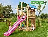 Jungle Gym Spielturm Jungle Fort - Set mit Feuerwehrstange Sandkasten Kletterturm (inkl. Holzpaket)