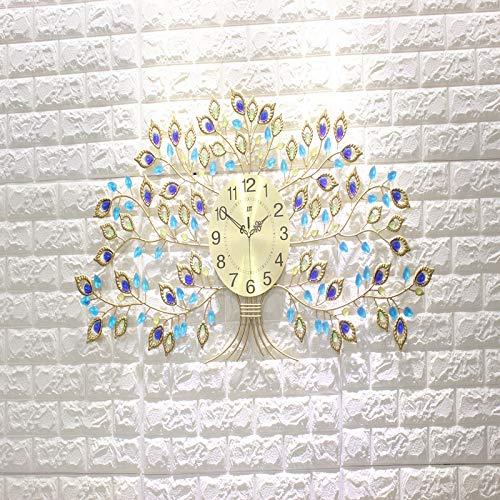 ENCOFT 81x 43 cm Gold Metall Wanduhr groß XXL funkuhr ohne tickgeräusche digital Uhrwerk Wohnzimmer((81 x 43 cm, Gold)