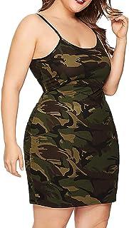 137ea7fcaec27 OldSch001 Fashion Womens Plus Size O-Neck Sleeveless Camouflage Mini Bodycon  Camis Dress