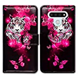 LG Stylo 6 Case,Bcov White Tiger Butterfly Leather Flip Wallet Case Cover with Card Slot Holder Kickstand for LG Stylo 6