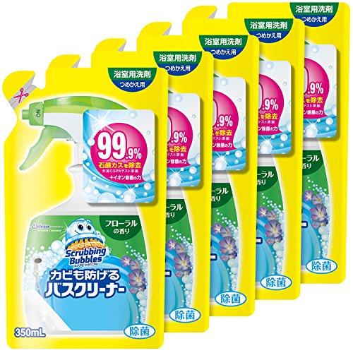 【まとめ買い】 スクラビングバブル 浴室・浴槽洗剤 カビも防げるバスクリーナー フローラルの香り つめかえ用 350ml×5個セット