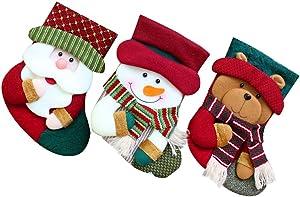 wuayi 3 Pcs Suspension en Chaussettes Décoration de Noël Sapin Decoration Christmas Ornament Intérieur extérieur Le père noël Bonhomme de Neige Ours