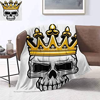 jecycleus King Children's Blanket Hand Drawn Crowned Skull Cranium with Coronet Tiara Halloween Themed Image Lightweight Soft Warm and Comfortable W60 by L70 Inch Golden and Pale Grey