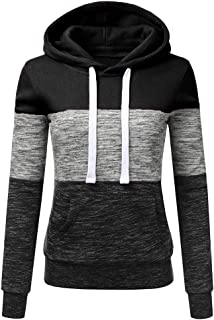 Women's Three-Color Stitching Long-Sleeve Drawstring Pullover Blouse Casual Hooded Sweatshirt Tops