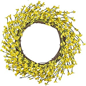 LSKYTOP Artificial Forsythia Flower Wreath 20inch Spring Summer Yellow Wreath Handcrafted Twig Base Year Round Front Door Décor