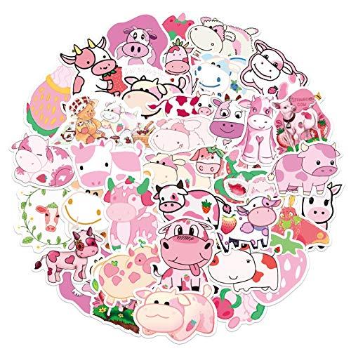 FENGLING Cartoon Graffiti Pink Erdbeer Kuh Aufkleber für Mädchen Kinder Koffer Laptop Fahrrad Helm Auto Aufkleber 50 STK