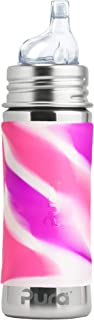 Pura Kiki 11 Oz / 325 Ml Stainless Steel Sippy Cup With Silicone Xl Sipper Spout & Sleeve, Pink Swirl (plastic Free, Nonto...