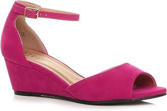 Amazon.co.uk: Pink Ankle Wedge Shoe
