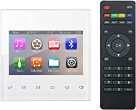 HELMER Bluetooth Amplifier, Home Stereo Audio System, 3 Inches Video Player in Wall with Touch Key, White, BM200