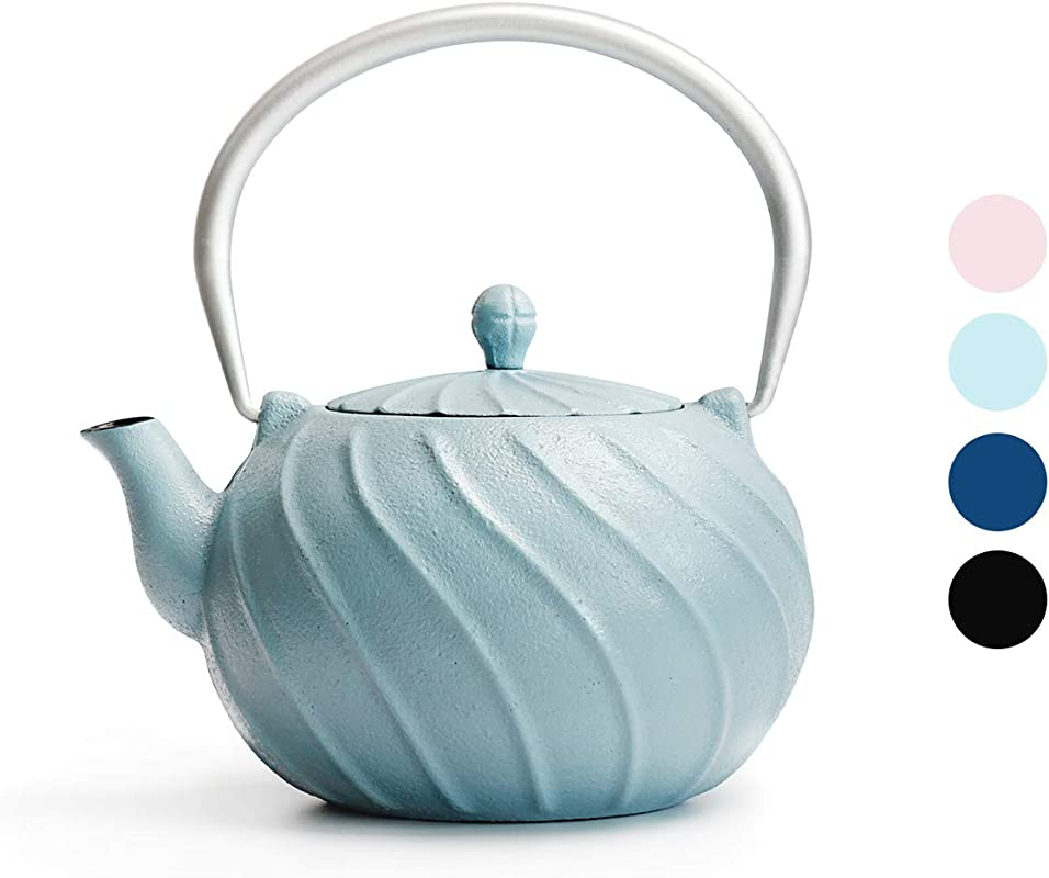 Tea Kettle TOPTIER Japanese Cast Iron Tea Kettle With Infuser Stovetop Safe Cast Iron Tea Kettle Wave Design Cast Iron Teapot Coated With Enameled Interior For 22 Oz 650 Ml Turquoise Blue