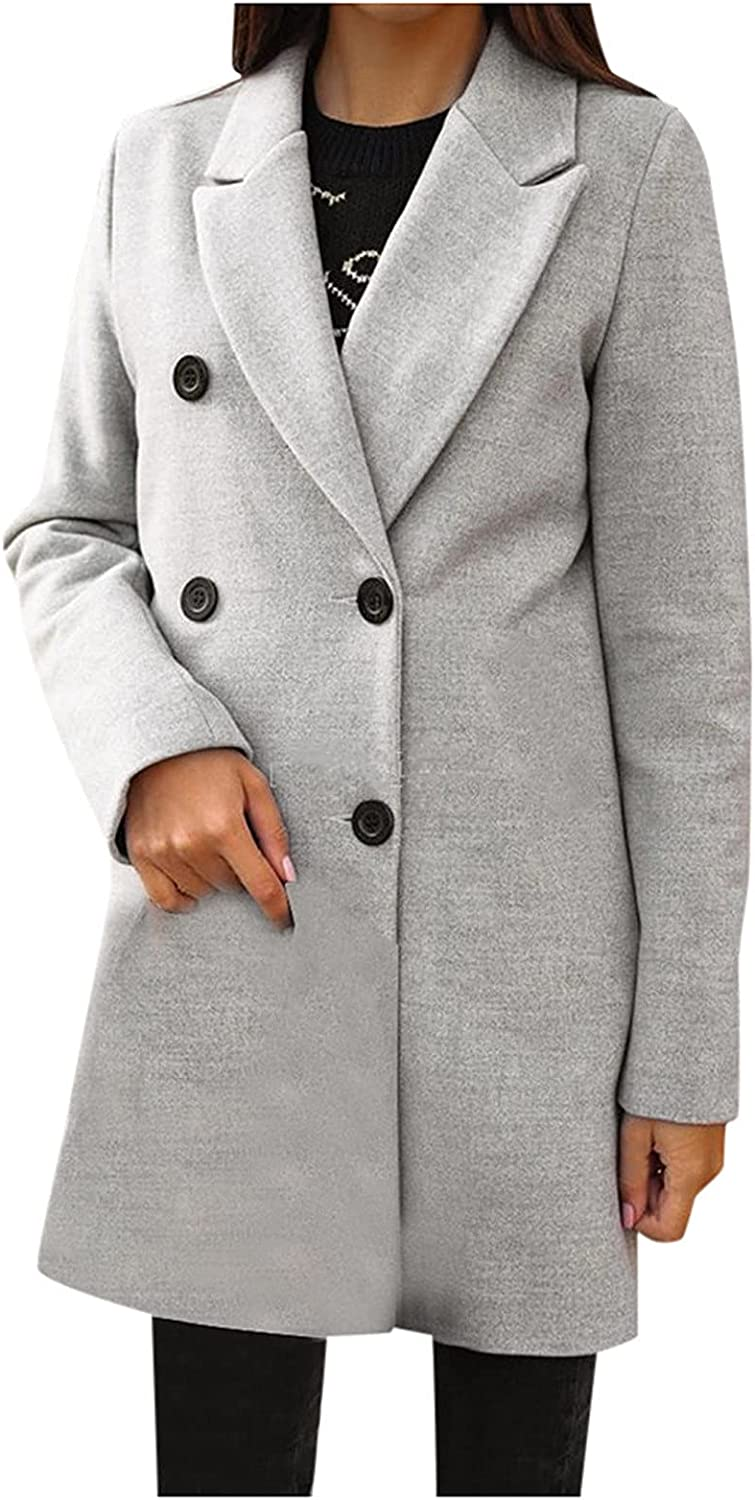 Xinantime Women's Notch Lapel Double Breasted Trench Coat Solid Color Mid Long Winter Coat Ladies Vintage Open Front Jacket