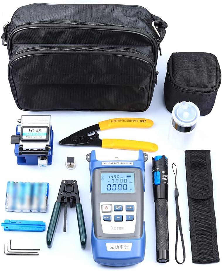 Zwbfu Kit de herramientas FTTH de fibra óptica Medidor de potencia óptica a de fibra Pelacables Juego de herramientas de conexión fría de fibra óptica con bolsa de alenamiento